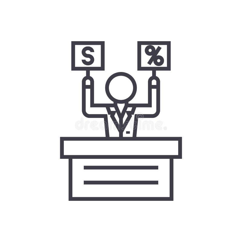 Aanbieding, markt, pictogram van de veilings het vectorlijn, teken, illustratie op achtergrond, editable slagen royalty-vrije illustratie