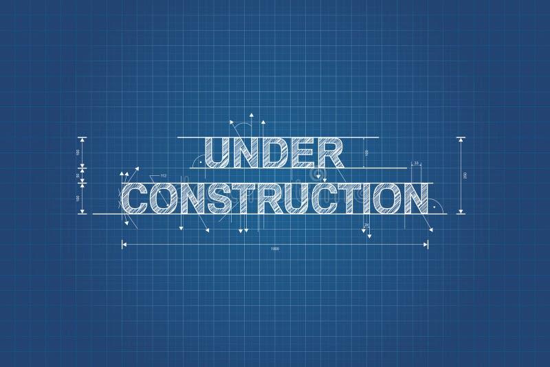 In aanbouw blauwdruk, technische tekening vector illustratie