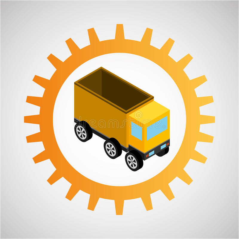 In aanbouw de vrachtwagen van de toestelstortplaats vector illustratie