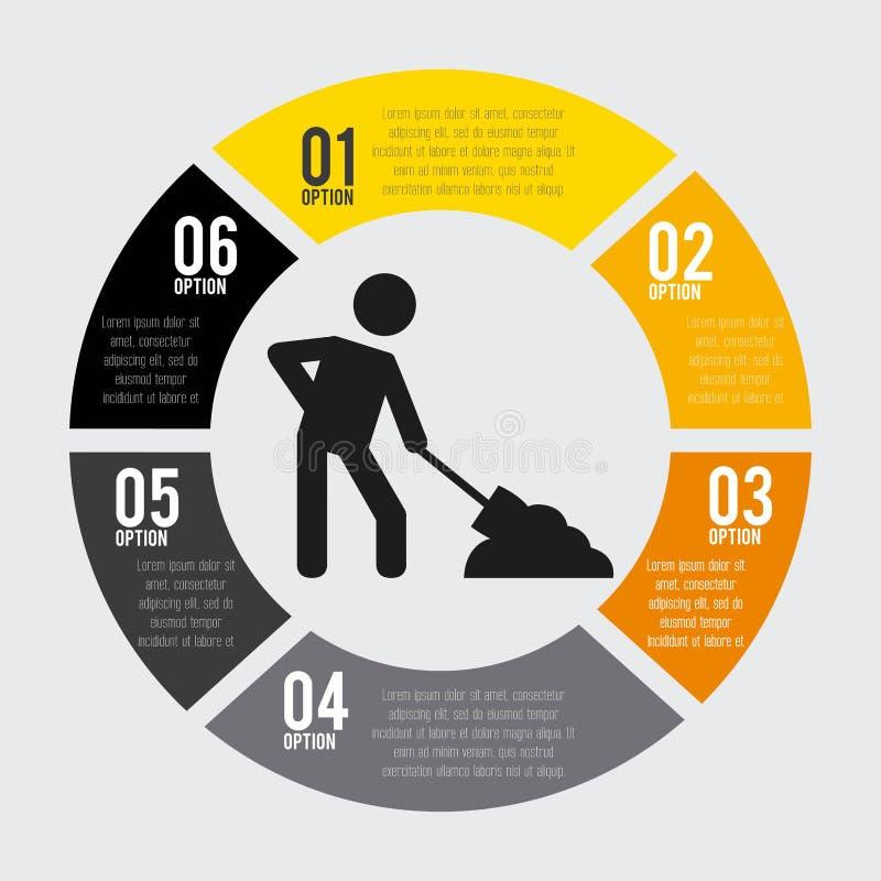 In aanbouw infographic geïsoleerd pictogramontwerp royalty-vrije illustratie