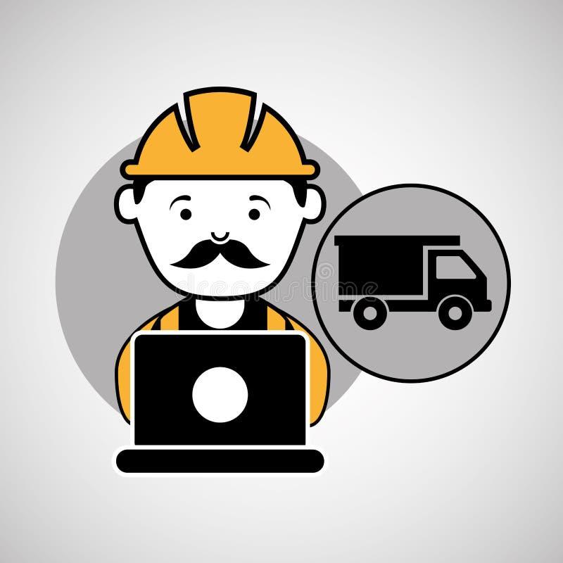 In aanbouw laptop de vrachtwagen van de arbeidersstortplaats stock illustratie