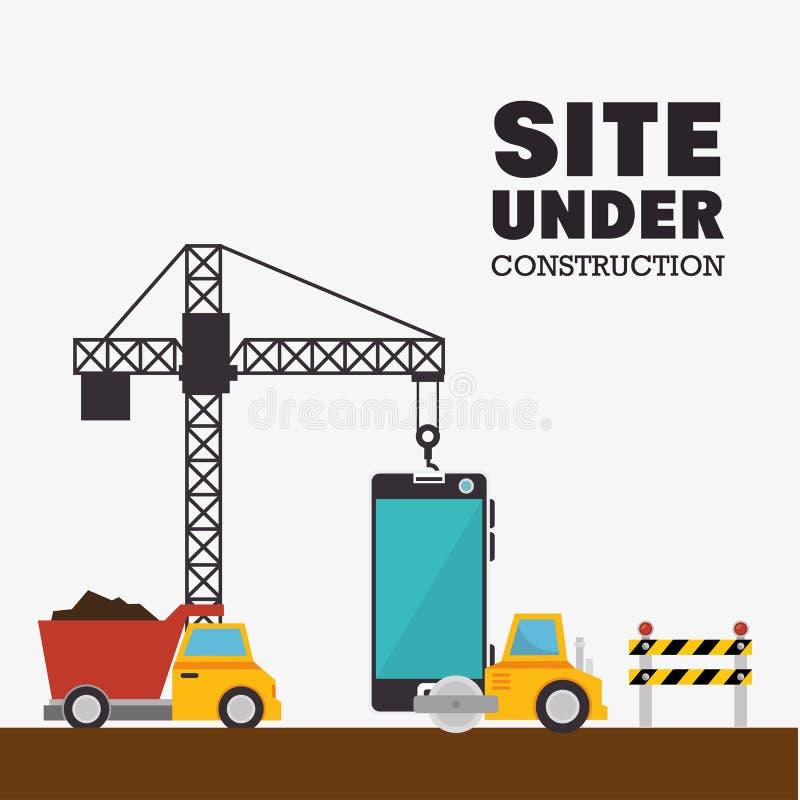 in aanbouw mobiele plaats en vrachtwagenmachines vector illustratie