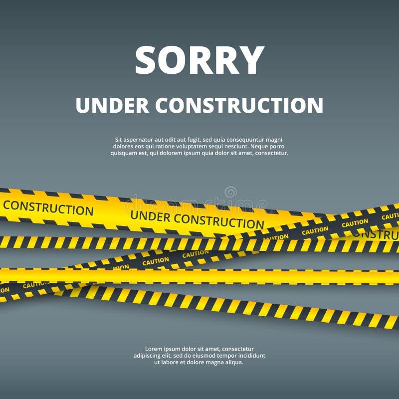 In aanbouw pagina Websiteontwerpsjabloon met het type van de strepenveiligheid van het aandachtsgevaar vectoruimalplaatje stock illustratie