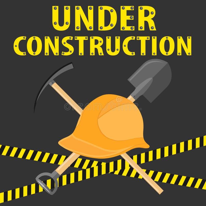 In aanbouw, plaats voor bouw Een bouwhelm, een schop en een pikhouweel op een zwarte achtergrond met het verbieden stock illustratie