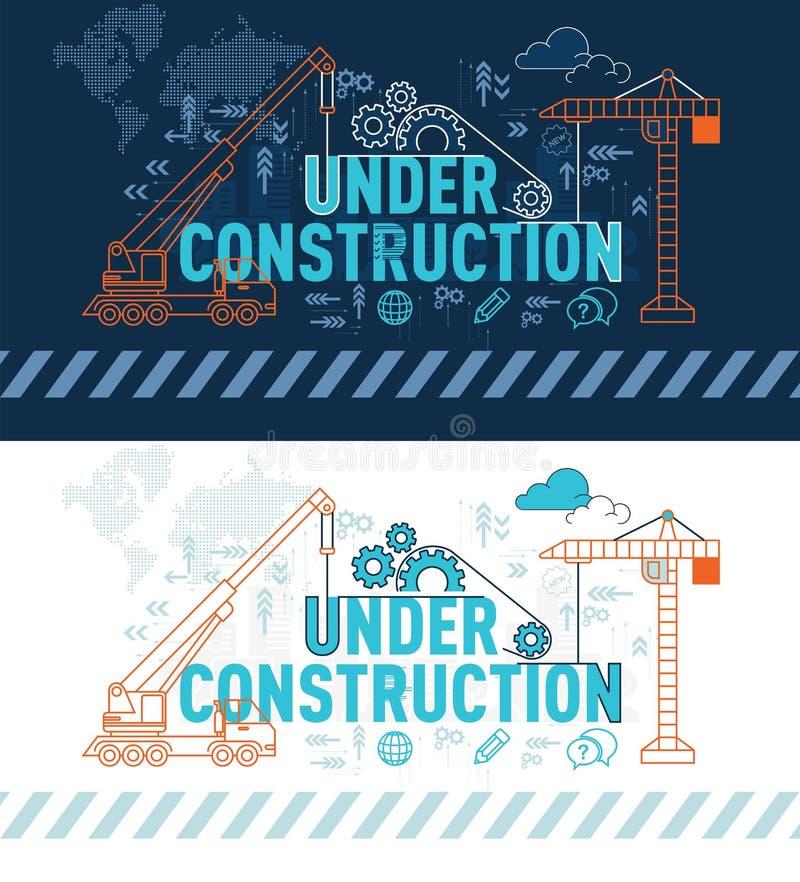 In aanbouw Web-pagina bannerconcept met dun lijn vlak ontwerp stock illustratie