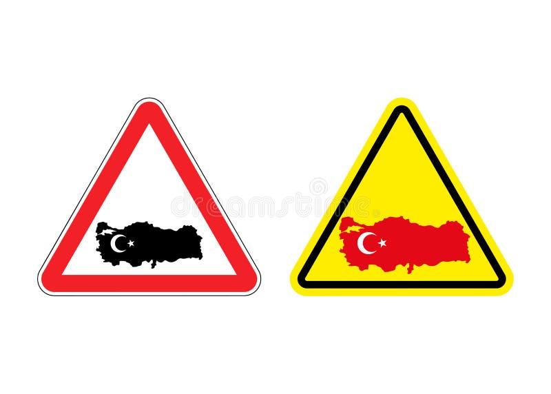 Aandacht Turkije Waarschuwingsbord voor Turks land royalty-vrije illustratie
