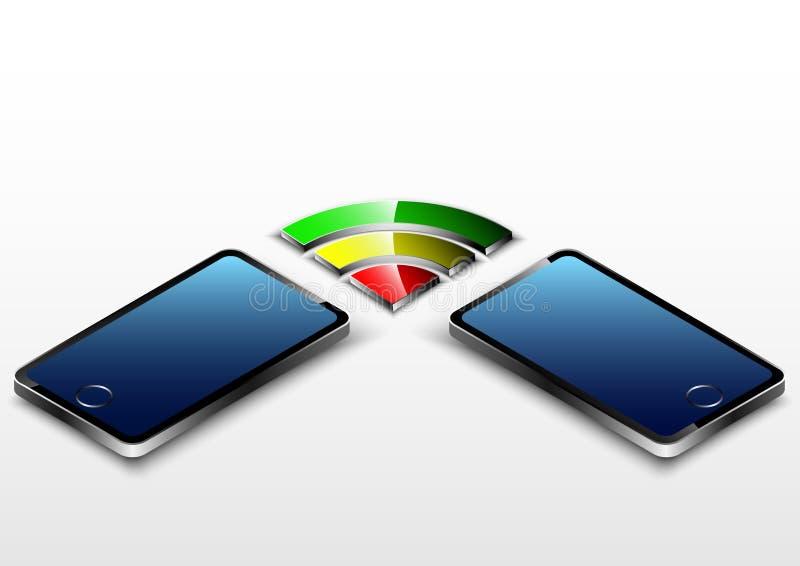 Aandeel draadloze technologie van andere smartphone royalty-vrije illustratie
