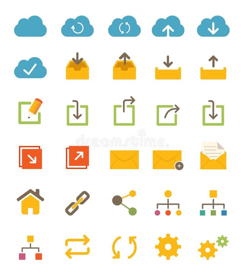 Aandeel en Netwerkpictogrammen stock afbeeldingen