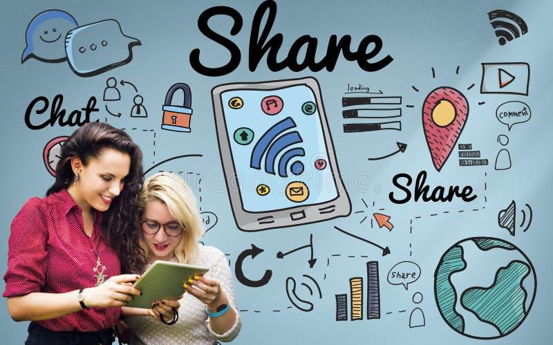 Aandeel het Globale van het Communicatie Concept Voorzien van een netwerkgedeelte stock foto