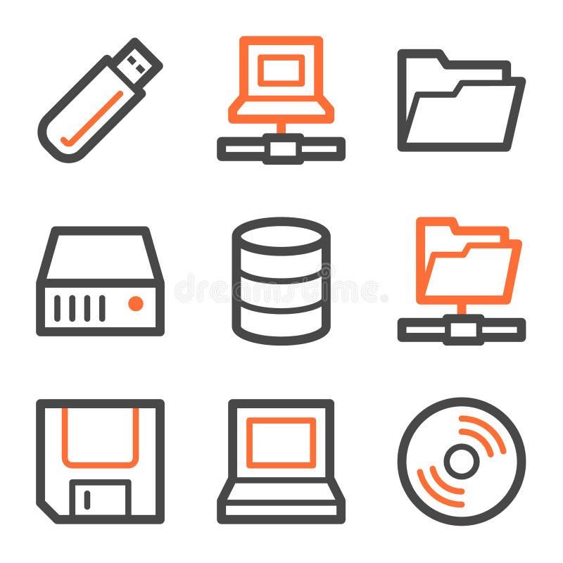 Aandrijving en de pictogrammen van het opslagWeb, oranje-grijze contour stock illustratie