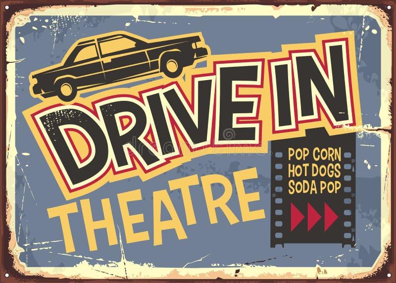 Aandrijving in ontwerp van het theater het uitstekende teken vector illustratie