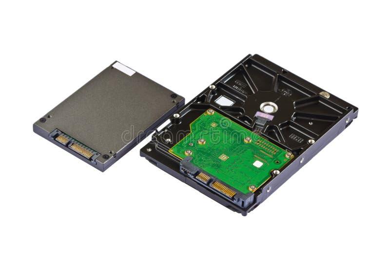 Aandrijving in vaste toestand (SSD) en harde schijfaandrijving (HDD) stock foto
