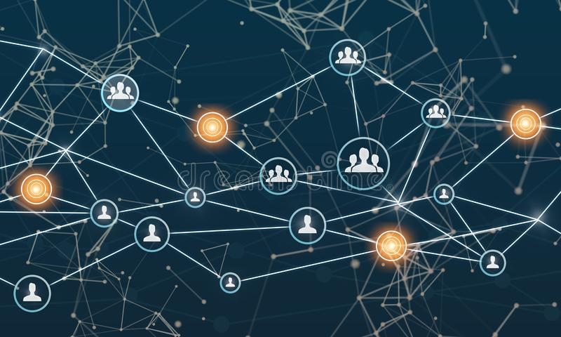 Aaneenschakelingsentiteiten Voorzien van een netwerk, sociale media, SNS, Internet-mededeling Klein die netwerk met een groter ne vector illustratie