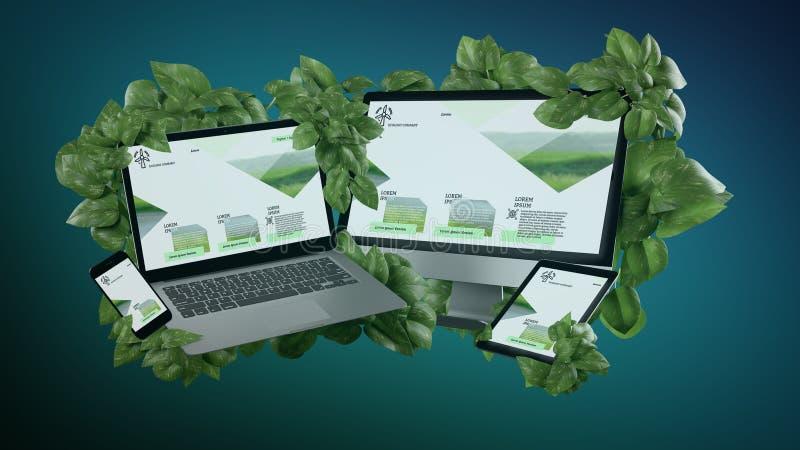 Aangesloten apparaten die door bladeren het 3d teruggeven omringen stock afbeeldingen
