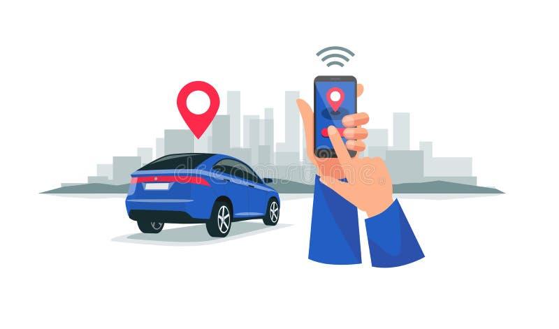 Aangesloten Auto die de Dienst Met afstandsbediening via Smartphone App delen vector illustratie