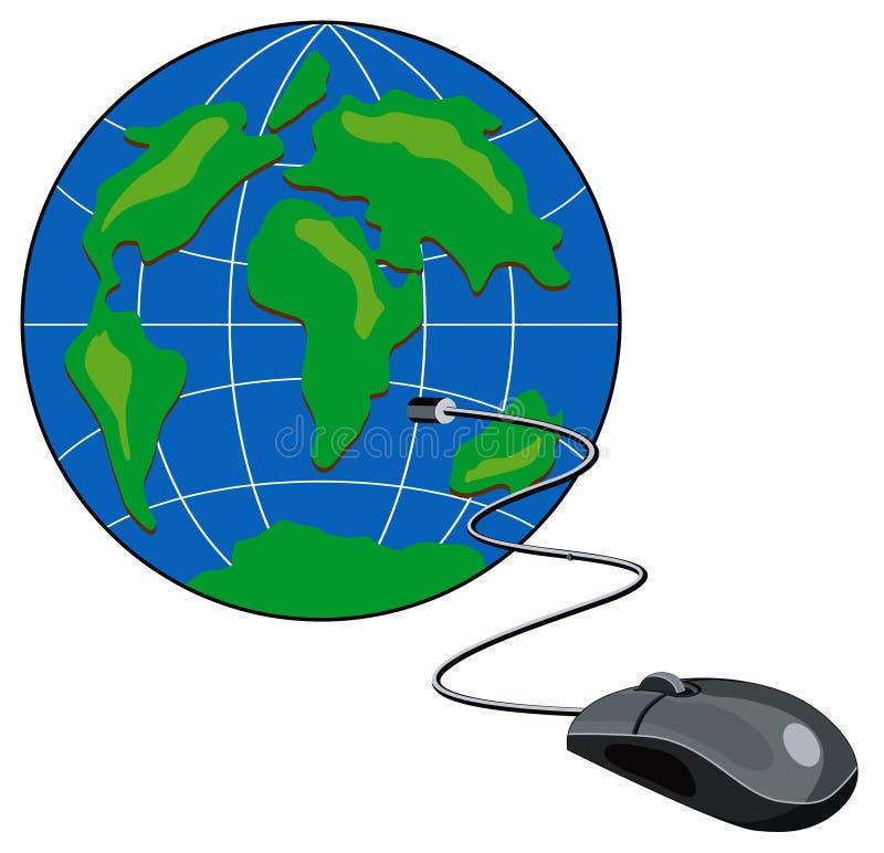 Aangesloten de muis van de computer stock illustratie