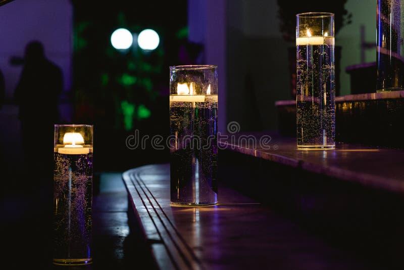 Aangestoken ladder met kaarsen royalty-vrije stock foto