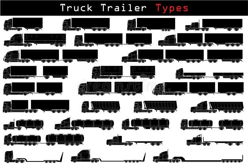 Aanhangwagentypes van de vrachtwagen stock illustratie