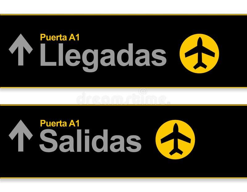 Aankomst en van de vertrekluchthaven tekens in het Spaans vector illustratie