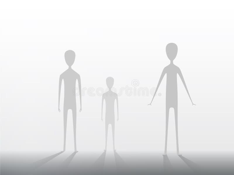 Aankomst van vreemdelingen ter wereld Extraterrestrials op een lichte achtergrond Eps 10 vector illustratie