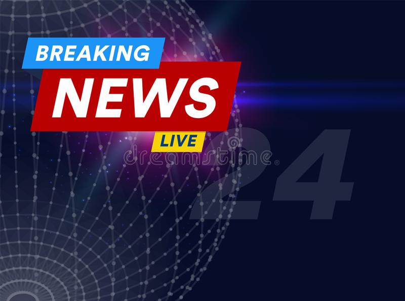 Aankondiging, berichtlijn met een bericht, wereld recentste nieuws op de lucht op een futuristische donkerblauwe achtergrond met vector illustratie