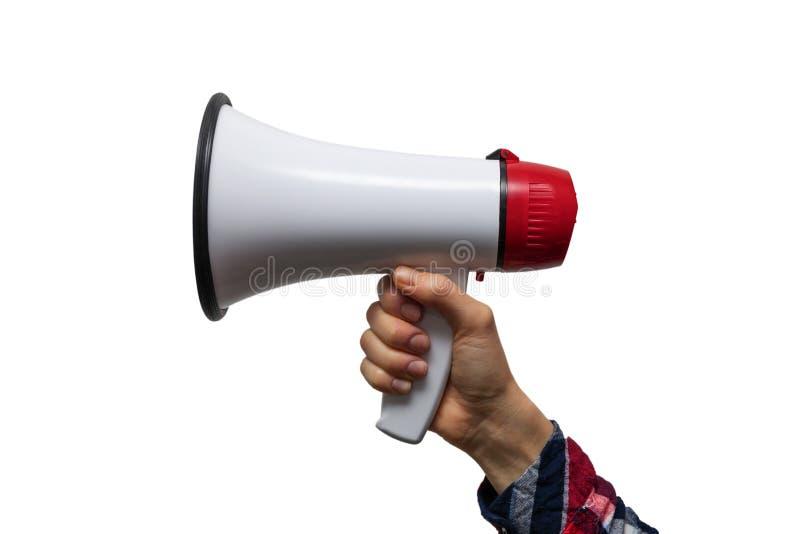 aankondiging - hand met megafoon op wit wordt geïsoleerd dat stock foto's