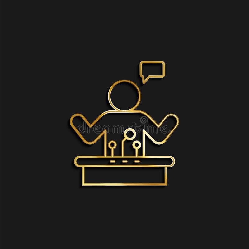 Aankondiging, keynote, openbaar, spreker, sprekend gouden pictogram Vectorillustratie van het gouden pictogram stock illustratie