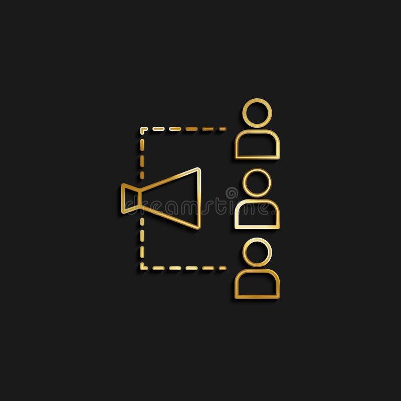 Aankondiging, klant, gouden beheerpictogram Vectorillustratie van het gouden pictogram vector illustratie