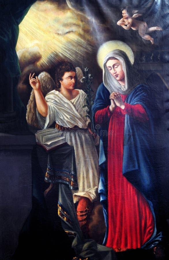 Aankondiging van Maagdelijke Mary stock afbeelding