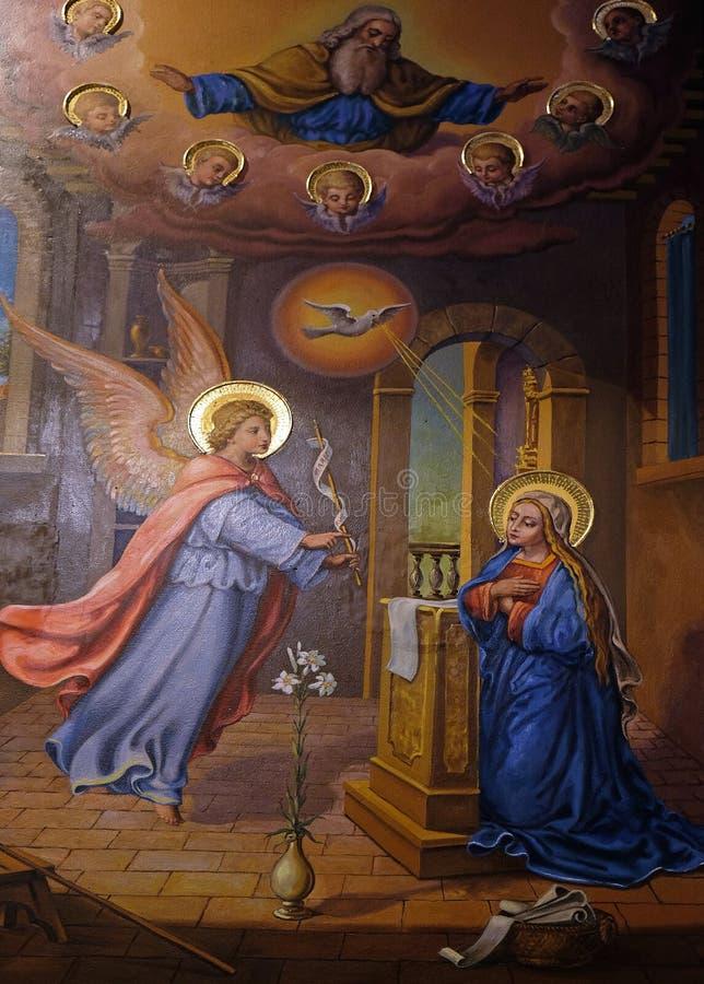 Aankondiging van Maagdelijke Mary stock foto's