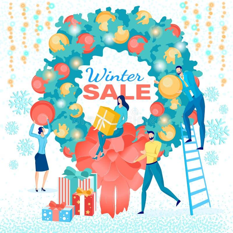 Aankondiging winterverkoop in Festive Wreath Poster vector illustratie