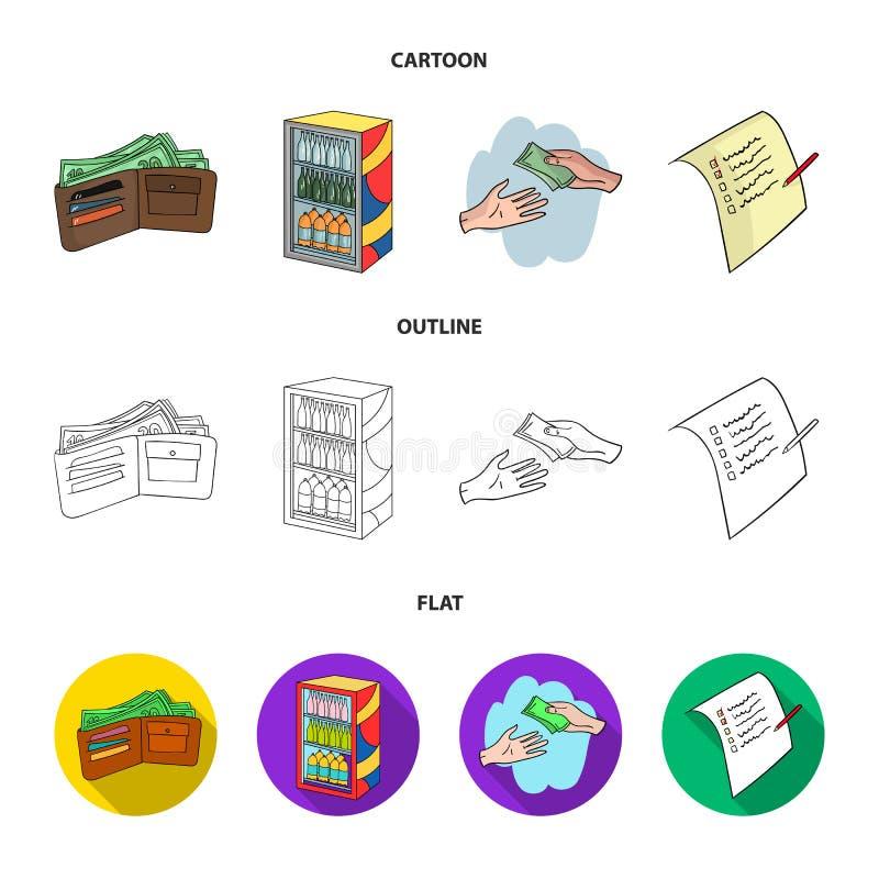 Aankoop, goederen, het winkelen, showcase Pictogrammen van de supermarkt de vastgestelde inzameling in beeldverhaal, overzicht, d royalty-vrije illustratie