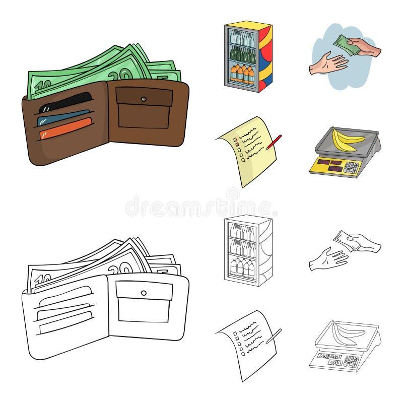 Aankoop, goederen, het winkelen, showcase Pictogrammen van de supermarkt de vastgestelde inzameling in beeldverhaal, vector het s stock illustratie