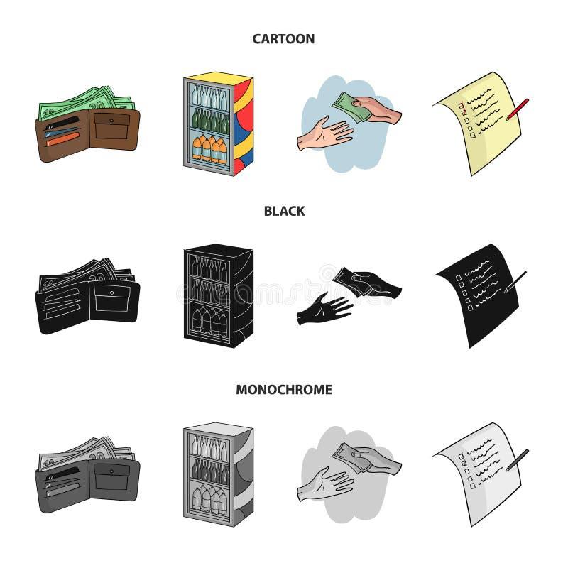 Aankoop, goederen, het winkelen, showcase Pictogrammen van de supermarkt de vastgestelde inzameling in beeldverhaal, zwart, zwart stock illustratie