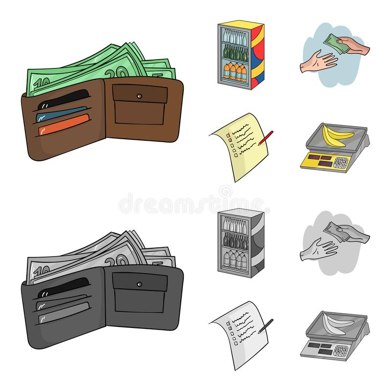 Aankoop, goederen, het winkelen, showcase Pictogrammen van de supermarkt de vastgestelde inzameling in beeldverhaal, de zwart-wit vector illustratie