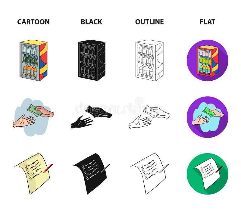 Aankoop, goederen, het winkelen, showcase Pictogrammen van de supermarkt de vastgestelde inzameling in beeldverhaal, zwarte, over vector illustratie
