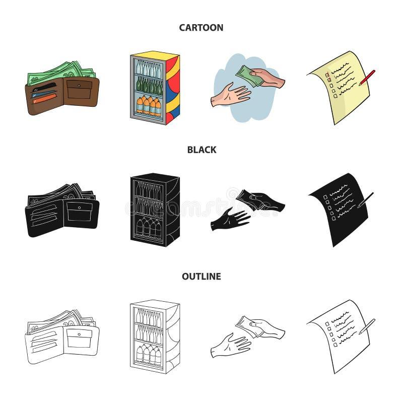 Aankoop, goederen, het winkelen, showcase Pictogrammen van de supermarkt de vastgestelde inzameling in beeldverhaal, zwarte, vect stock illustratie