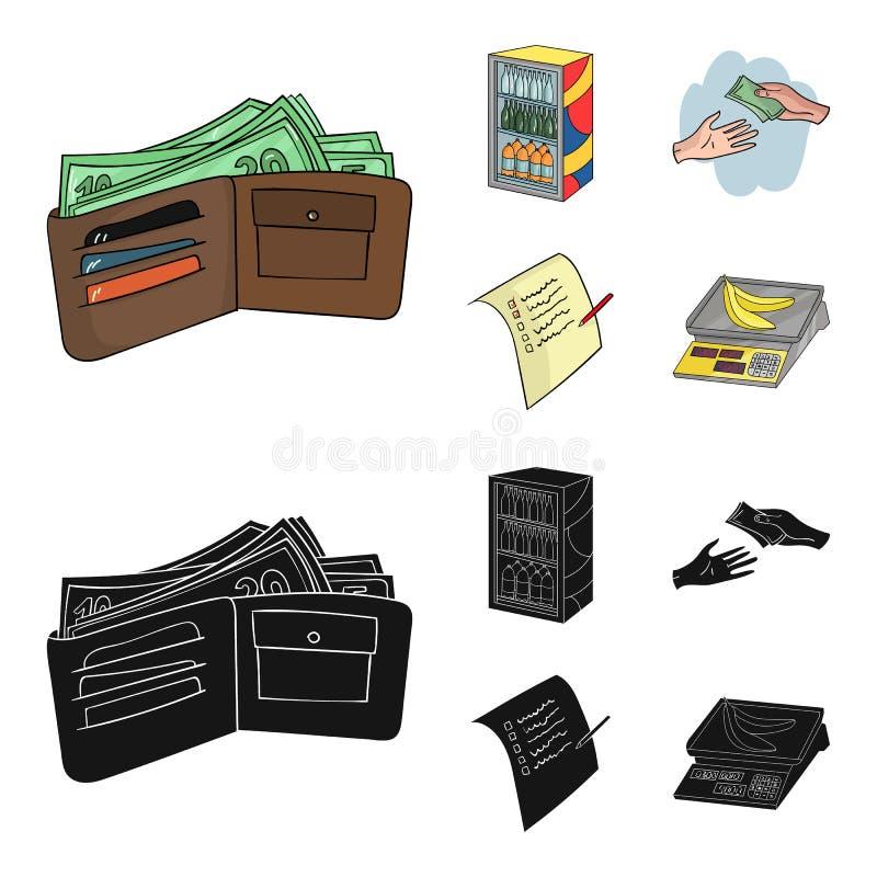 Aankoop, goederen, het winkelen, showcase Pictogrammen van de supermarkt de vastgestelde inzameling in beeldverhaal, de zwarte vo vector illustratie