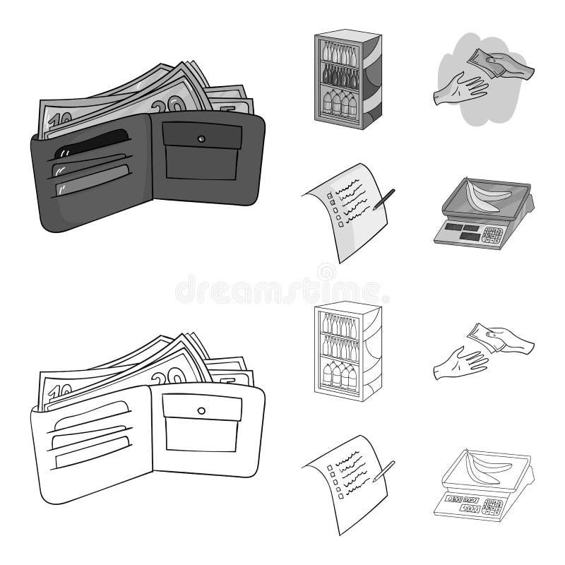Aankoop, goederen, het winkelen, showcase Pictogrammen van de supermarkt de vastgestelde inzameling in overzicht, de zwart-wit vo vector illustratie