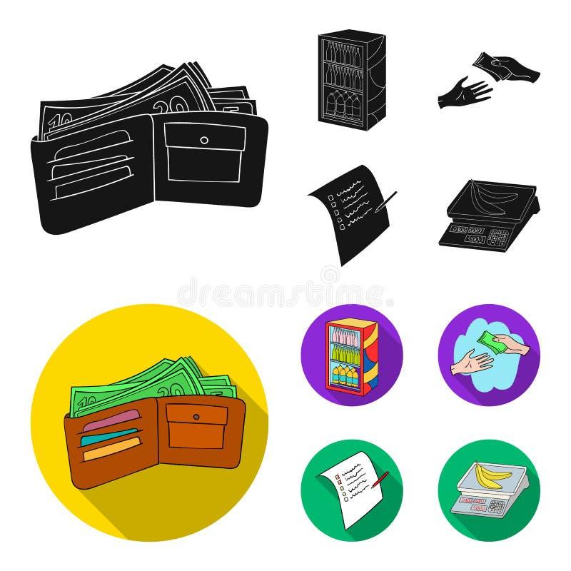Aankoop, goederen, het winkelen, showcase Pictogrammen van de supermarkt de vastgestelde inzameling in de zwarte, vlakke voorraad vector illustratie