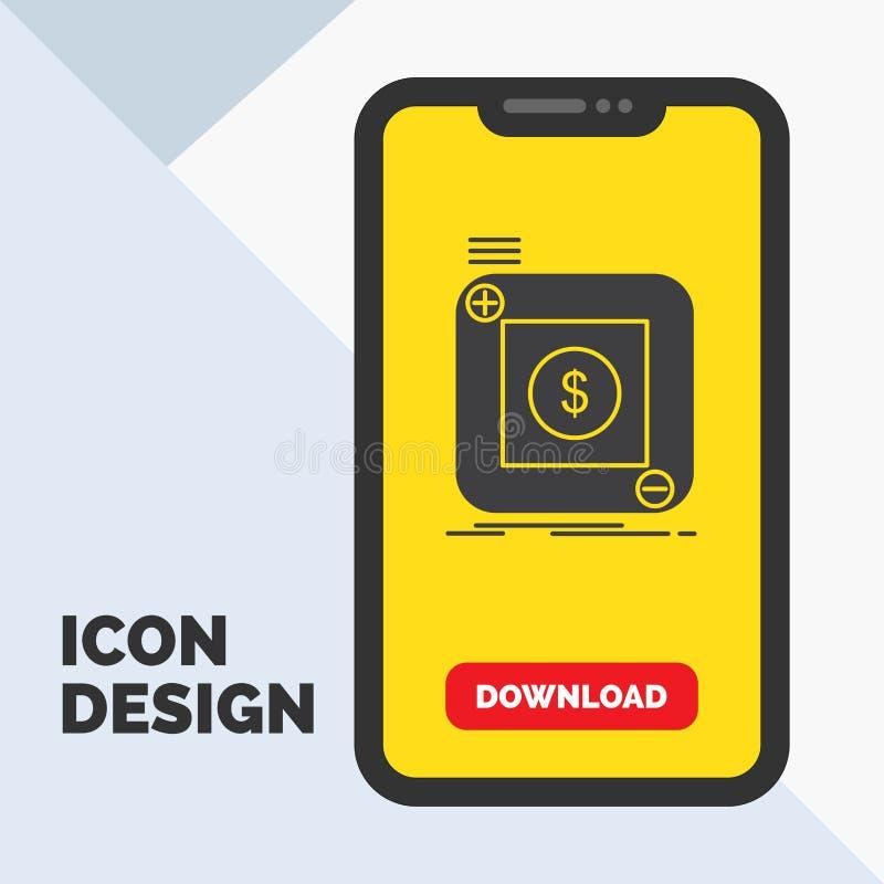 aankoop, opslag, app, toepassing, mobiel Glyph-Pictogram in Mobiel voor Downloadpagina Gele achtergrond stock illustratie
