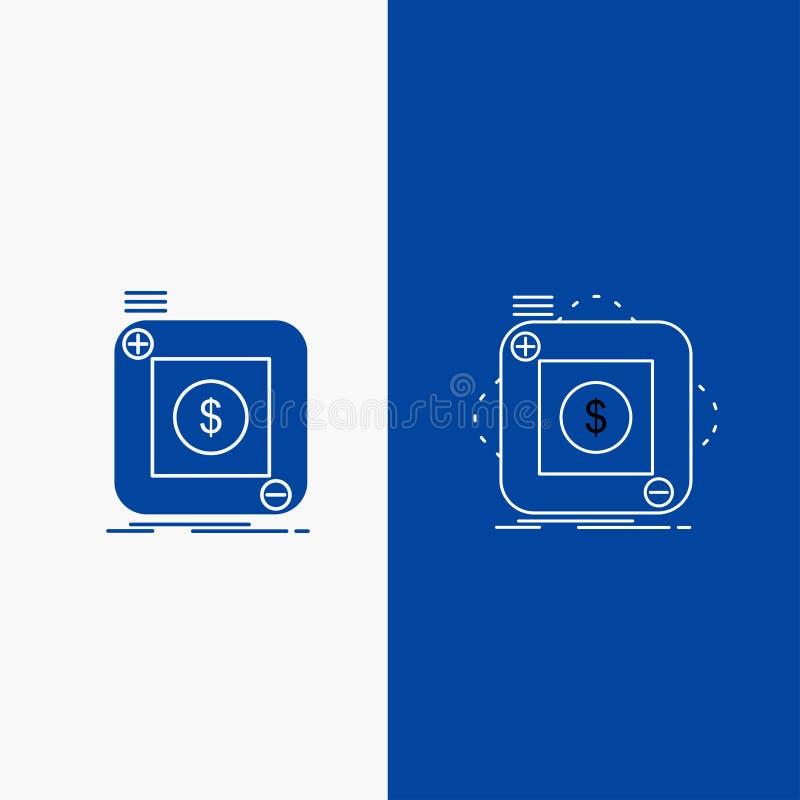aankoop, opslag, app, toepassing, mobiele Lijn en Glyph-Webknoop in Blauwe kleuren Verticale Banner voor UI en UX, website of mob vector illustratie