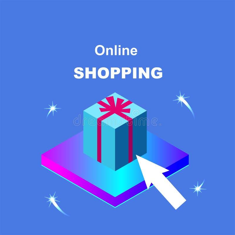 Aankoop van goederen via Internet Online Winkelend royalty-vrije illustratie