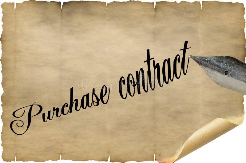 Aankoopcontract in het Engels met pen stock afbeeldingen