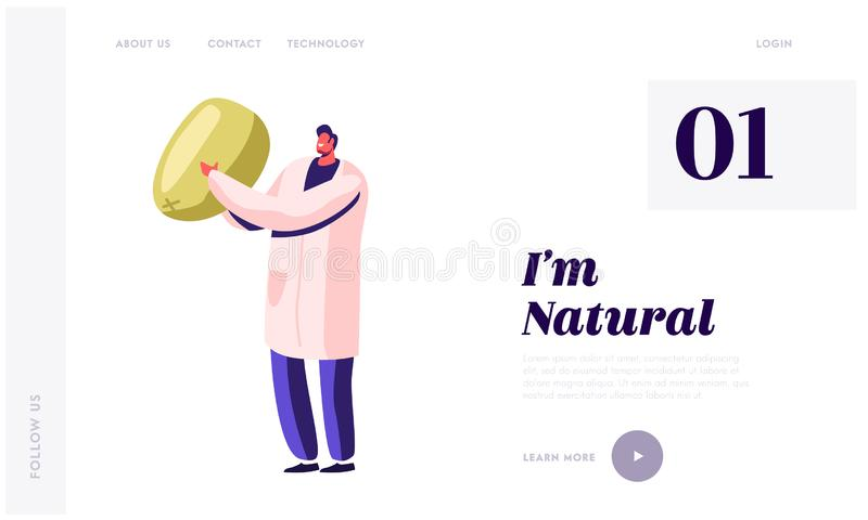 Aanlandingspagina van de website voor gezonde levensmiddelen in blik Werknemer van de conservenfabriek die kantensnijpende groent stock illustratie