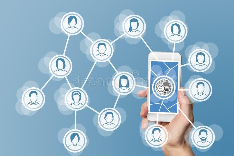 Aanmunting van digitale bedrijfsmodellen voor sociale netwerken stock foto