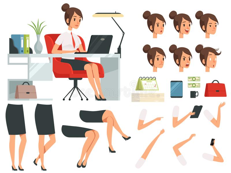 Aannemer van bedrijfsvrouw De verwezenlijkingsuitrusting van de beeldverhaalmascotte van bedrijfsvrouw vector illustratie