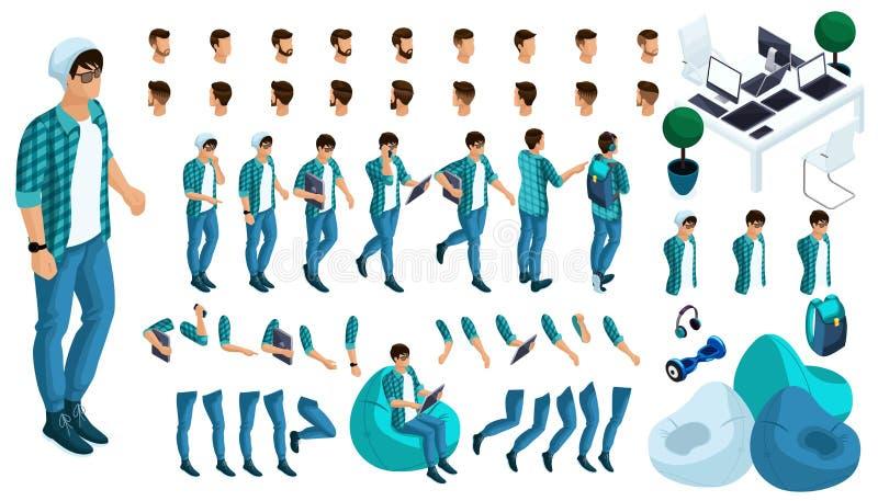 Aannemer van het karakter van de jonge man Creeer uw karakter in isometrisch Een grote reeks emoties en gebaren stock illustratie