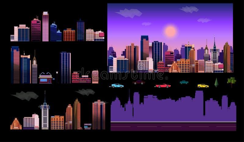 Aannemer voor de achtergrond van de nachtstad Gemakkelijk om uw eigen mening van de stad, met afzonderlijke elementen tot stand t vector illustratie