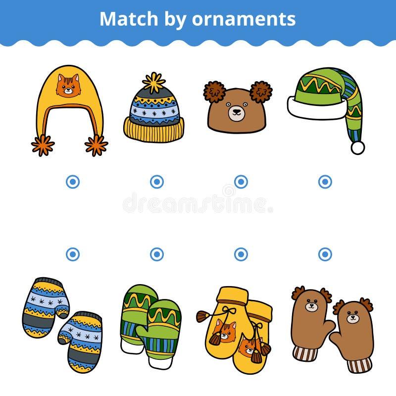 Aanpassend spel voor kinderen, pas de vuisthandschoen en de hoeden aan royalty-vrije illustratie